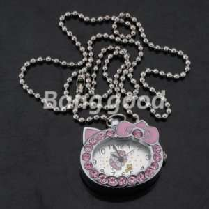 Silver Kitty Cat Bowtie Rhinestone Crystal Quartz Pocket