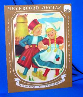 VTG DUTCH BOY/GIRL LG MINT MEYERCORD DECAL/CRAFTS/CARDS