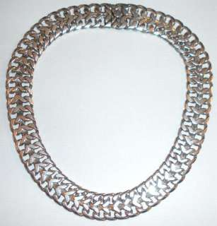 LARGE HEAVY HAND MADE MEXICAN STERLING SILVER 129gr NECKLACE