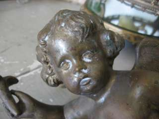 Old French Heavy Brass Metal WINGED CHERUB ANGEL Salvage AWESOME DECOR