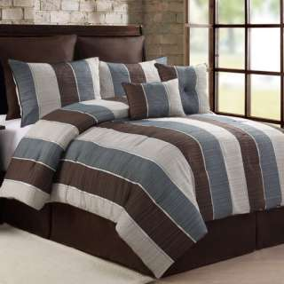 Florence Green, Brown, Blue & White 6 Piece Comforter Bed In A Bag Set