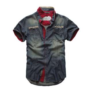 NEW MATCH Mens Look Sleeve Stylish Casual Cowboy Denim Shirts T0112