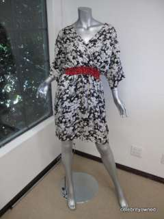 Huntress For Scoop Black/White Floral Red Trim Dress SM