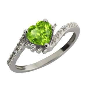 85 Ct Heart Shape Green Peridot and White Topaz Argentium Silver