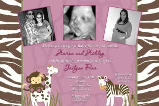 Cocalo Jacana Monkey Zebra Baby Shower Invitations