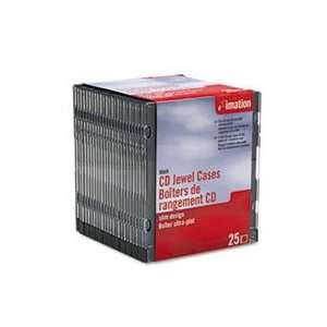 CD/DVD Slim Line Jewel Case, Clear/Black, 25/Pack