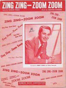 Zing Zing   Zoom Zoom, Perry Como, 1950, Sheet Music