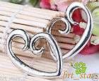 60 Pcs Tibetan silver bali style BIG ART Peach heart ch