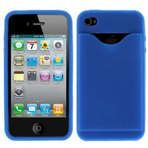 Hype Blue Soft Silicone Cover Case with Credit Card Slot