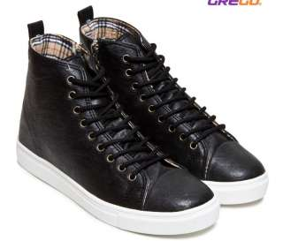 Men 1.2 Height Increased Casual High Top Sneakers Boots Shoes Black