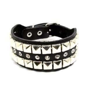 Gothic Punk Emo Rockabilly metal studded leather bracelet