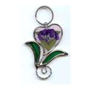 Flower of Love Key Ring, Silver Look