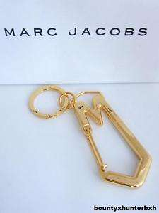 MARC JACOBS Gold Alloy Carabiner MJ Clip Key Ring Chain