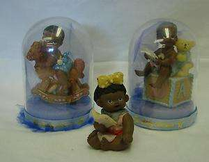 African American Black Baby Boy Girl Rocking Horse Block Shower Decor
