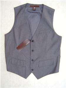 Perry Mens Dress Vest L Pin Stripe Suit Coat Tuxedo Gray White Button