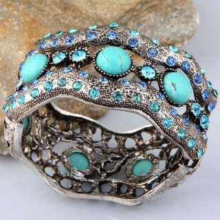 Tibet silver blue howlite turquoise twisted crystal wide fashion cuff
