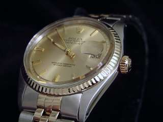 Mens Two Tone 14k Gold/Stainless Rolex Datejust Date Watch Champagne