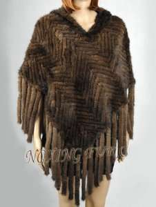 Luxurious Hand Made Brown Mink Knitted Fur Poncho With Hood