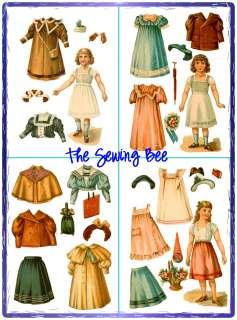 Antique Dollys Dressmaker 9 doll wardrobe patterns 1886 No. 2