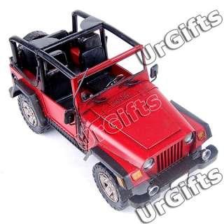 Made Metal Art Bar Decor 116 Jeep Wrangler Rubicon Model RED