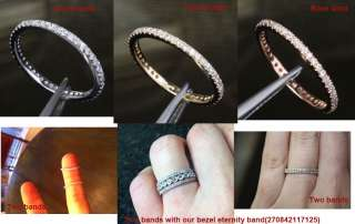 14K WHITE GOLD PAVE DIAMOND ETERNITY WEDDING BAND RING