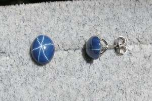 10X8 MM LINDE LINDY CORNFLOWER BLUE STAR SAPPHIRE CREATED STUD