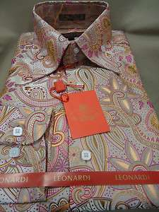 Mens Leonardi Pink Champagne Exquisite Paisley High Collar Dress Shirt
