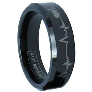 6mm Black Comfort Fit Tungsten Carbide Ring with Laser Forever Love