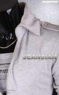 3mu Mens Trend Designer Double Zips Slim Jacket Tops Coats Shirts S M