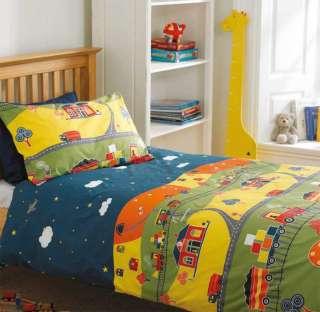 Boys Bedding Wagons, Trucks & Trains Quilt Cover Set
