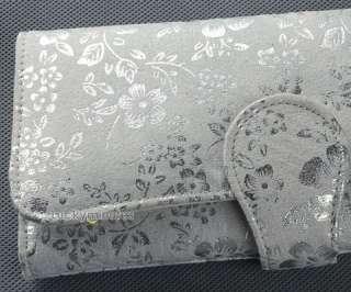 J90 White Silver Flowers Print Lady Women Long Wallet Purse Coin Bag
