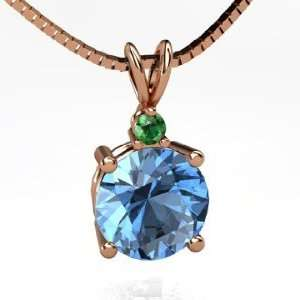 Pendant, Round Blue Topaz 14K Rose Gold Necklace with Emerald Jewelry