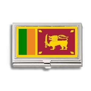Sri Lanka Lankan Flag Business Card Holder Metal Case