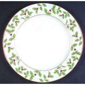 Holly And Berry Gold Salad Plate, Fine China Dinnerware Kitchen