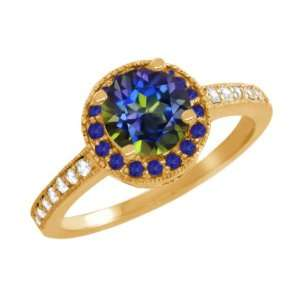 Round Blue Mystic Topaz Blue Sapphire Gold Plated Sterling Silver Ring