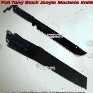 Tang Black Jungle Machete Sword Short Dagger Knife