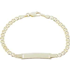 Pave Mariner Link ID Kids to Young Adults Bracelet 5.5mm WIde: Jewelry
