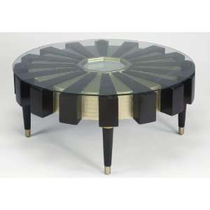 Bianco Collection Espresso 30 Inch Round Glass Top Coffee Table