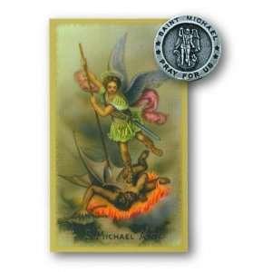 St Michael Pin Prayer Card Set Lapel Pin Patron Saint Medal Catholic