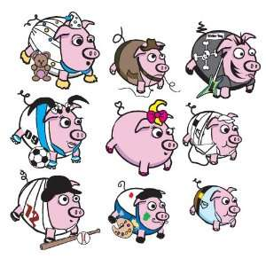 Little Pigs Wall Vinyl Sticker Decal set Home Decor Kids Room