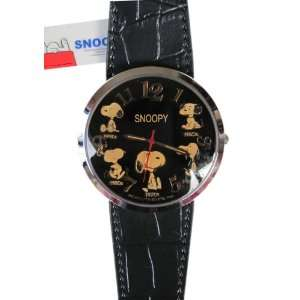Peanuts Snoopy Big Face Watch With Black Leather Band Toys & Games