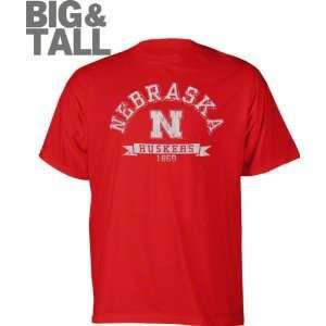 Nebraska Cornhuskers Red Distressed Logo Big & Tall T