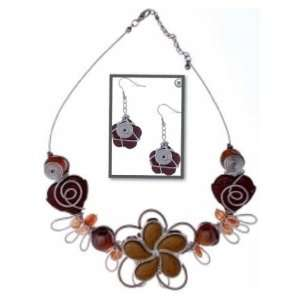 Mad Design Coco Amber & Brown Beaded Flower Wire Wrap
