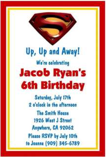 Superman Superhero Birthday Invitations Favor Tag Water Candy Gum