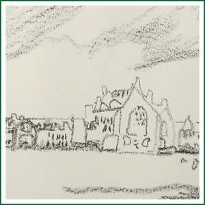 Contemporary Village Scene Crayon Sketch Drawing