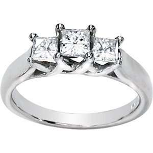 1 CT TW Moissanite 3 Stone Ring/14kt white gold Jewelry