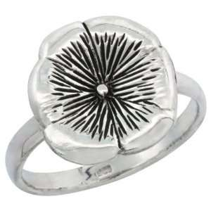 Sterling Silver Movable Flower Ring, 9/16 in. (14 mm) wide