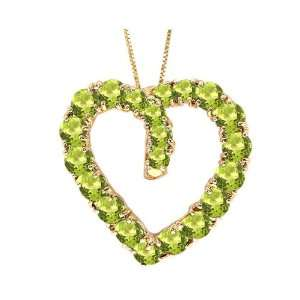 14K Yellow Gold Color Studded Open Heart Pendant Peridot , Chain  NOT