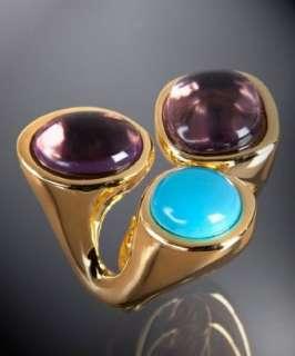 Kenneth Jay Lane gold triple cabochon ring