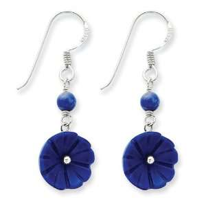 Sterling Silver Lapis Flower Earrings Jewelry